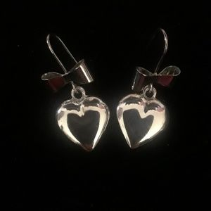 Jewelry - Sterling silver bow and heart dangle earrings.